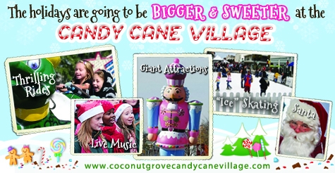 $40 for a family four-pack at Coconut Grove Candy Cane Village